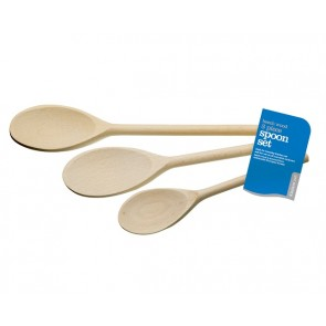 Three Piece Wooden Mixing Spoon Set - Beech