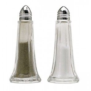 Glass Cruet Set with Chrome Shaker Tops