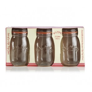 Kilner Set of 3 Clip Top Preserving Jar - 1 Litre Capacity
