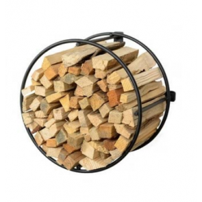 Round kindling holder set in amongst the log holder