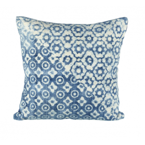 Lanka Cushion - blue & off white cotton cushion by Parlane