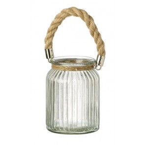 Ribbed glass candle holder with twisted rope handle by Parlane