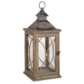 Large Washed Wood Candle Lantern