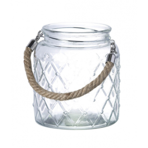 Small Lattice Glass Lantern with Rope