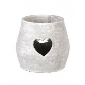 Large clay Amara Tealight holder with heart cut-out
