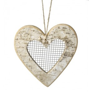 Large Natural Birch hanging decoration with mesh centre
