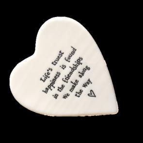 Life's Truest Happiness Porcelain Heart Coaster
