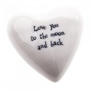 Love you to the Moon and Back - Small Porcelain Heart