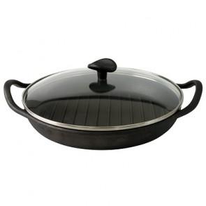 Pre-seasoned cast iron round grill pan