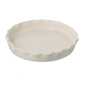 Miel cream ceramic flan dish. 260mm diameter.