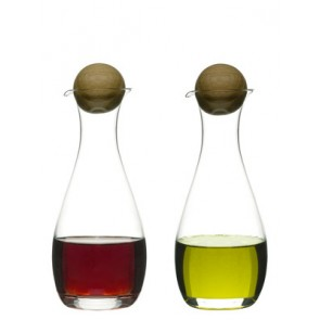Contemporary Blown Glass Oil & Vinegar Bottles with Oak Stoppers