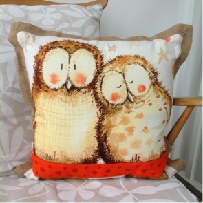 Alex Clark Owls Cushion with Jute Trim - 45cm x 45cm
