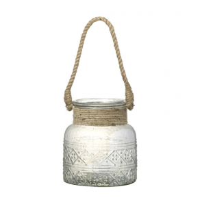 Parlane Hayle Glass Lantern with Rope Handle