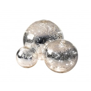 Parlane decorative set of 3 illuminated mirrored balls