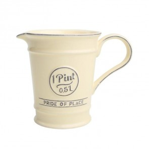 Ceramic pint jug in old cream - Pride of Place - 500ml capacity