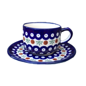 Cranberry Patterned Polish Pottery Cup & Saucer