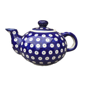 Boleslawiec Pottery Small Teapot in Frogeye Pattern (Hand Painted)