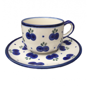 Boleslawiec Polish Pottery Tea Cup & Saucer in Blueberry