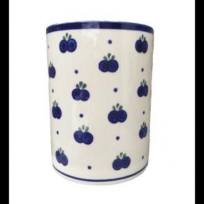 Large Polish Pottery Utensil Jar in Blueberry
