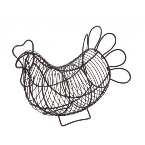 Provence wire hen egg holder in rustic brown