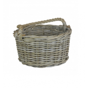 Kubu Grey Rattan Kindling Basket