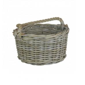 Kubu Grey Rattan Kindling Basket