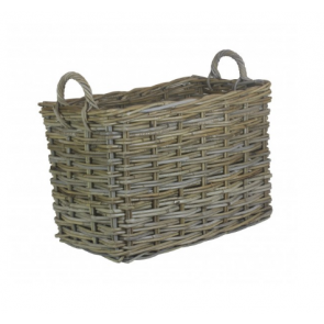 SmallRectangular Grey Rattan Log Basket