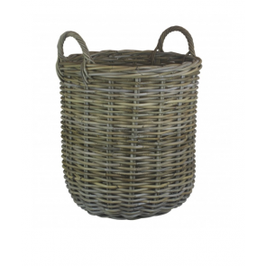 Medium Tall Round Fireside Log Basket in Grey Rattan