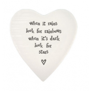 Porcelain Heart Coaster -  When it Rains look for Rainbows