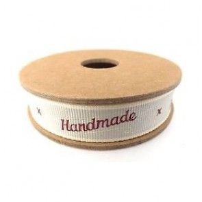 'Handmade' worded Fabric Ribbon - 3 meter roll