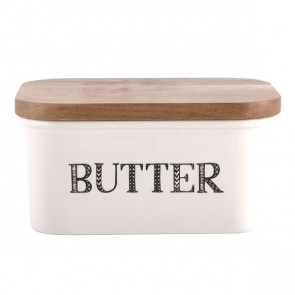 Ceramic Butter Dish With Wooden Lid by Creative Tops.