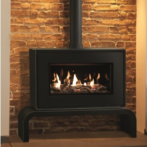 Gazco Studio 1 Freestanding Black front, Driftwood effect, Black Glass lining