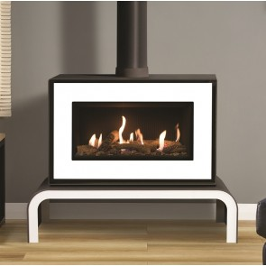 Gazco Studio 1 Freestanding White Front,Log effect , Black reeded liner