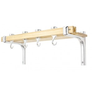 Judge Wall Mounted Wooden Pot Shelf with Hooks