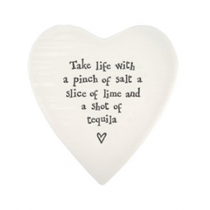 Porcelain Heart Coaster - Take life with a pinch of salt