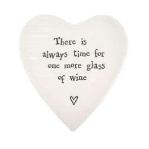 Porcelain Heart Coaster - Always Time for Wine