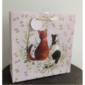 Two Cats Large Gift Bag by Alex Clark