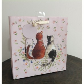 Two Cats Medium Gift Bag by Alex Clark