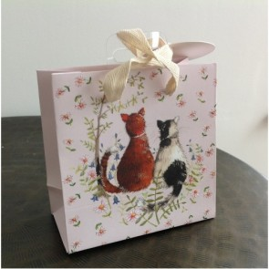 Two Cats Small Gift Bag by Alex Clark
