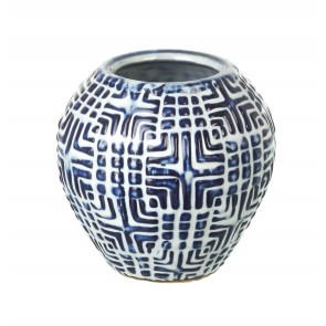 Small Milos Blue & White Ceramic Vase