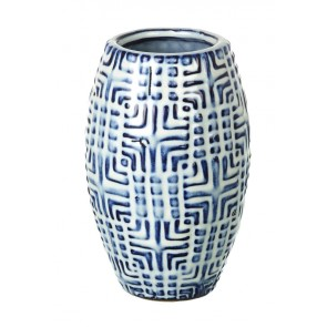 Large Milos blue & white decorative vase