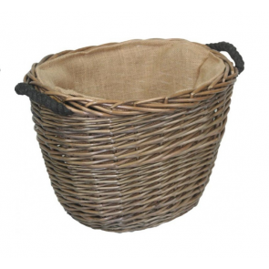 Willow small antique oval log basket