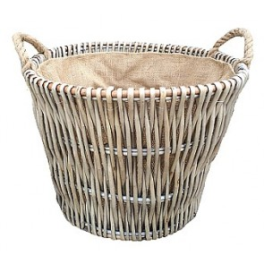 Grey round log basket with liner