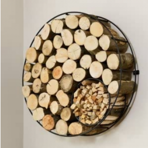 Wall mounted round wire log holder with kindling holder