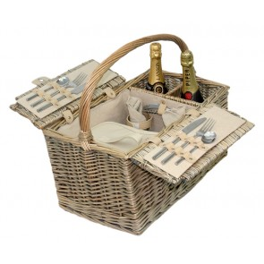 Antique wash willow 2 person picnic hamper