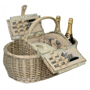 Antique wash willow picnic hamper for 4 persons