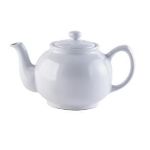 6 Cup White Stoneware Teapot