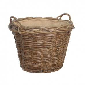 Green Ash Round Tapered Log Basket with Hessian Lining