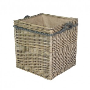 Square Rope Handled Log Basket in Antique Finish