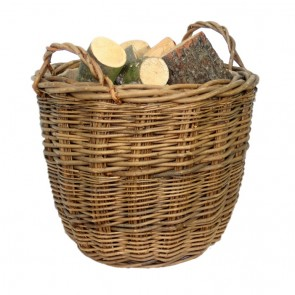 Green Ash Tapered Log Basket with hessian lining